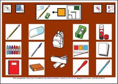 MATERIALES - Tableros de Comunicación de 12 casillas.    Tablero de comunicación de doce casillas sobre objetos de la clase.    http://arasaac.org/materiales.php?id_material=224