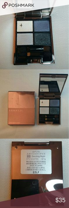 Lunasol Lunasol Eyeshadow Palette - make in Japan Color: 03 Dazzling Night Beautiful eyeshadow palette and is no longer available.  The colors are barely touched just slighly brushed upon to test the colors out. Plastic cover is still in the case.  This palette is expensive and the original price was around $55. Lunasol Makeup Eyeshadow