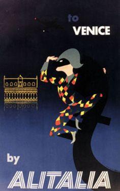 Vintage Italian Posters ~ #Italian #vintage #posters ~ Venice, alitalia.