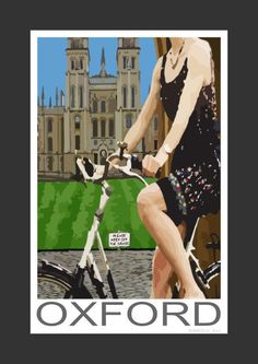 Cyclist going past All Souls College, Oxford (Art Print)