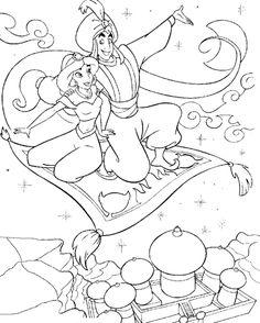 Aladdin and Jasmine. Aladdin - Disney Coloring Page