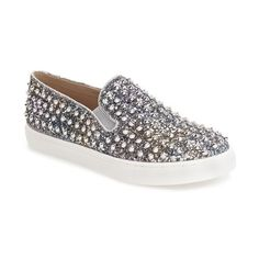 Steve Madden 'Emmmaa' Studded Slip-On Sneaker ($90) ❤ liked on Polyvore featuring shoes, sneakers, silver multi, studded sneakers, silver sneakers, studded shoes, steve-madden shoes and slip on shoes