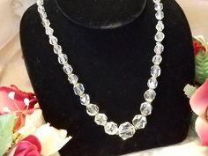 Vintage Retro 1940's Clear Crystal Glass Faceted Round Graduated Beads on Chain Choker Necklace by SparklesGalorebyDeb on Etsy https://www.etsy.com/listing/545851588/vintage-retro-1940s-clear-crystal-glass