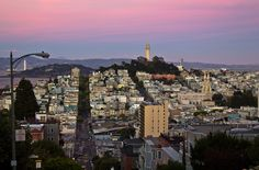 San Francisco Coit Tower from Lombard Street