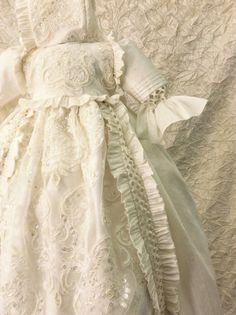 Christening Heirloom Silk Gown with Hat and Shoes // Unisex Victorian Gown // Baptism Gown A beautiful hand made Christening gown, using pure dupioni silk, cent
