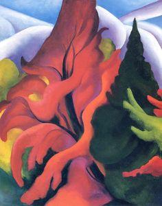Georgia O'Keeffe - Trees in Autumn, 1920 Georgia O'Keefe Museum, Santa Fe, New Mexico Georgia O'keeffe, Georgia O Keeffe Paintings, Autumn Painting, Watercolor Painting, Watercolors, Alfred Stieglitz, New York Art, Lake George, Community Art