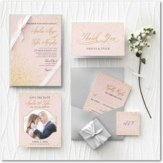 Blush & Gold Invites (Expensve) // Effervescent Sparkle - Save the Date Postcards - East Six Design - Chenille - Pink : Front