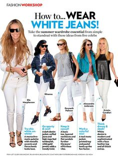 20 Style tips on how to wear White #Jeans - you can wear white jeans whenever your little heart desires, whether it's a 90 degree summer day, or a 20 degree snowstorm in the middle of January. #Fashion