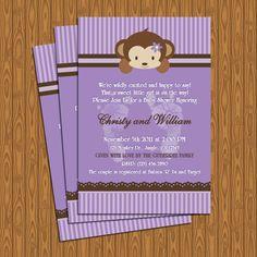 Purple Stripes and Monkey Baby Shower Invitations DIY Printable. $13.99, via Etsy.