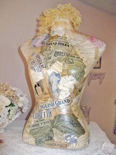 Gooey, gluey, wonderful decoupage mannequin by a talented lady named Kimberly Ann Ryan.