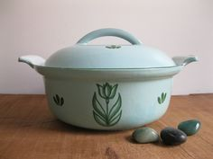 New Item! Vintage Holland Dutch Oven/Casserole Enamelware - Tulip Design Light Green - 1950's...Reshopgoods by Reshopgoods on Etsy