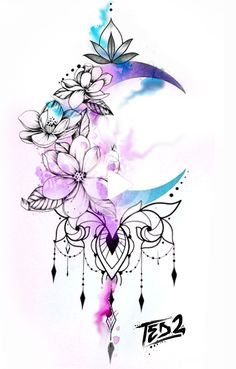 conception de tatouage, tatouage, fille, flash de tatouage, conception de fleur de tatouage, #tatouagesminimes #tatouagesdejambes Simple Tattoo Designs, Moon Tattoo Designs, Henna Tattoo Designs, Tattoo Sleeve Designs, Flower Tattoo Designs, Sleeve Tattoos, Designs Mehndi, Tattoo Ideas, Watercolor Tattoo Sleeve
