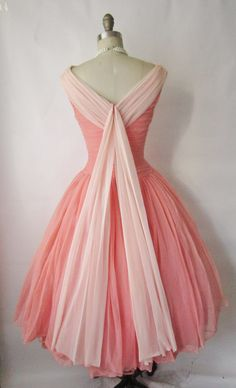 Vintage 1950's Ruched Coral Prom Dress