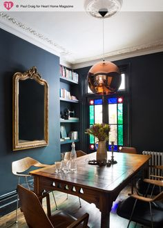 Interior of London victorian terraced house by Trunk -★-dining room Eyebrow Makeup Tip Terraced House, Victorian Terrace House, Victorian Homes, Dining Room Blue, Dining Area, Sweet Home, Dining Room Inspiration, Blue Rooms, Tom Dixon