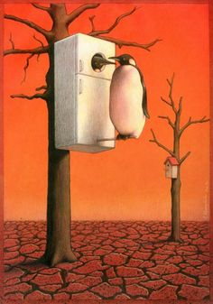Polish artist Pawel Kuczynsk (b. 1976) graduated the Fine Arts Academy in Poznan. He's famous for satirical illustrations that make you wonder about society, politics, etc.