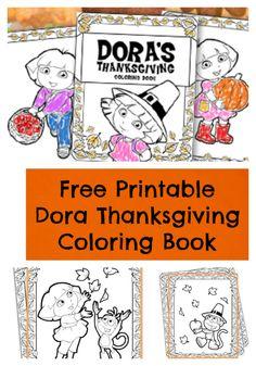 FREE Printable Dora Thanksgiving Coloring Book