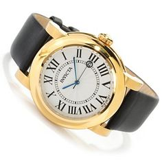 Invicta Womens I Force Vintage Quartz Stainless Steel Case Leather Strap Watch