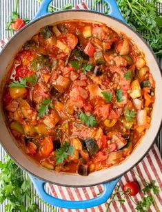 A casserole of vegetables simmered in garlicky tomato sauce and herbs. This easy ratatouille recipe is a great vegetarian side dish, fit for any occasion. #Vegetarian #SideDish #VegetableStew #Easy #Ratatouille