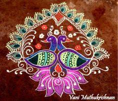 Free Hand Peacock Kolam Designs