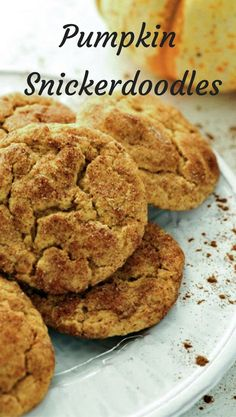 Snickerdoodles with pumpkin and a little spice are reminiscent of an all-time favorite.  Tweak the spices a bit for a better than pumpkin pie spice mixture and a delicious soft pumpkin cookie.