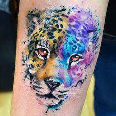 Jaguar, watercolor tattoo.