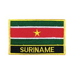 Suriname Flag Patch Embroidered Patch Gold Border Iron On patch Sew on Patch Bag Patchmeet you on Fleckenworld.com