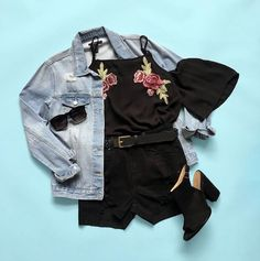 You might call it a girl's night, I call it therapy #OOTD #saturyay #urbanplanet Floral Embroidered Cold Shoulder Blouse London Low Rise Midi Short (Shop link in bio)