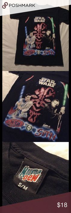 VTG Mountain Dew Star Wars Epsd. 1 Tshirt! Sz.S/M Crazy Star Wars episode 1 Mountain Dew promo shirt!! Size S/M! Huge earth maul's face with obi wan kenobi and qui gon jinn! Awesome piece for any Star Wars fans! Condition: 8/10 graphic is lightly faded. mountain dew Shirts Tees - Short Sleeve