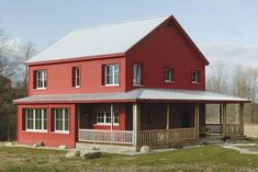Super Energy Efficient Prefab Rural Farmhouse (HQ Plans & 10 Pictures) - Metal Building Homes Metal Building Kits, Metal Building Homes, Metal Homes, Building A House, Building Ideas, Building Images, Green Building, Style At Home, Pole Barn Homes