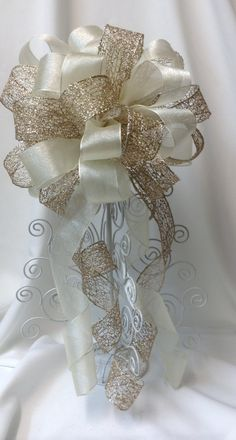 Gold And Ivory Tree Topper Bow Wedding By Basketsfromatoz