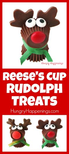 Rudolph the Red Nose Reindeer has never looked sweeter. That's because he's made out of chocolate and candy. See how easy these Reese's Cup Rudolph Treats are to make in a video tutorial at HungryHappenings.com.