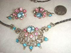 Beautiful Rhinestones Pink Blue Necklace earrings Set Demi Parure VNTG