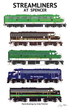 """An 11""""x17"""" poster with some of Andy Fletcher's hand drawings of 5 of the locomotives that attended Streamliners at Spencer 2014."""