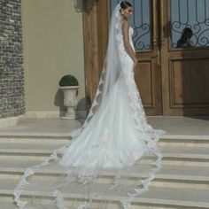 CATHEDRAL VEIL WITH LACE 36 Stunning Wedding Veils That Will Leave You Speechless - Cosmopolitan.com
