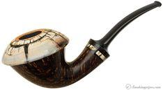 Tom Eltang Gotang Smooth Calabash with Mammoth Ivory Cap and Ring Pipes at Smoking Pipes .com