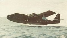 """Rise of German flying boat BV.222 «Viking"""" from the surface of the Elbe during tests"""