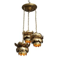 Brass Lotus Blossom Chandelier | From a unique collection of antique and modern chandeliers and pendants  at http://www.1stdibs.com/furniture/lighting/chandeliers-pendant-lights/