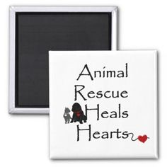Animal Rescue Heals Hearts Magnet - animal gift ideas animals and pets diy customize
