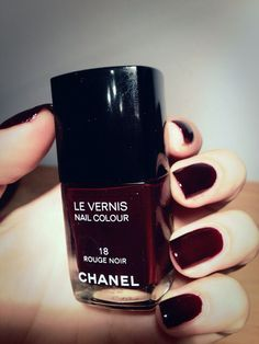 Chanel Rouge Noir nail color. I love this deep shade of red. @valeriemousseau