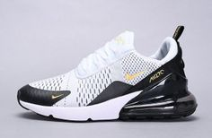 Unisex Athletic Sneakers shoes Nike Air Max 270 in white golden black Black Nike Sneakers, White Nike Shoes, Nike Air Shoes, Nike Shoes Outfits, Air Max Sneakers, Shoes Sneakers, Nike Running Shoes Women, Nike Air Max For Women, Mens Nike Air