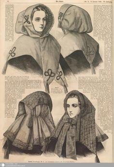 1860 Der Bazar. Amazing quilted hoods. [jrb]