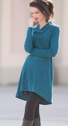 Vegane Kleidung - Kleid Jacquard Leaves in Bio Baumwolle mit Modal Edelweiss, Größen S bis XL - Finesse Fashion ©