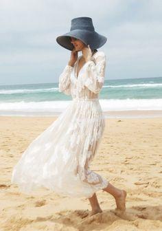 Lazy Sunday - DustJacket Attic : Lace dress on the beach