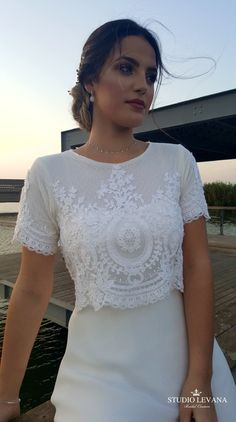 Stunning crop top boho modest wedding gown from Studio Levana