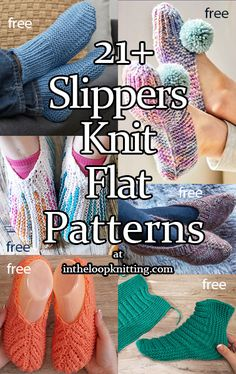 knitting slippers Slippers Knit Flat Knitting Patterns - In the Loop Knitting Beginner Knitting Patterns, Knitting For Beginners, Loom Knitting, Knitting Socks, Knitting Stitches, Free Knitting, Knitting Machine, Easy Knitting Projects, Two Needle Socks