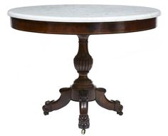 OnlineGalleries.com - 19TH CENTURY WILLIAM IV MAHOGANY MARBLE TOP GUERIDON TABLE