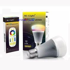 NEUE MiLight 2,4G Drahtlose E27 8 Watt RGBWW + Farbtemperatur Dimmbare 2 in 1 Smart <font><b>Led</b></font>-lampe AC85-265V + 4-Zone 2,4G RF Controller