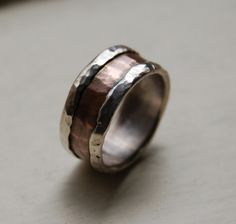 mens wedding band - rustic fine silver and copper ring - handmade artisan designed wedding or engagement band - customized on Etsy, $255.00