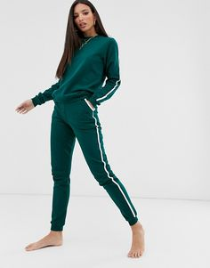 ASOS DESIGN Tall tracksuit cute sweat / basic jogger with tie with contrast binding | ASOS