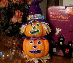 12 Fiber Optic Scarecrow Pumpkin Halloween Decoration Lighted